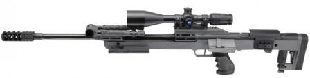 Keppeler KS-V sniper rifle in .338 Lapua Magnum. Note the placement of the magazine above the pistol grip.