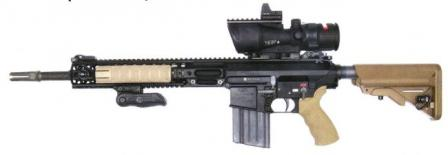 L129A1 Sharpshooter / Sniper rifle, as issued to British army, withTrijicon ACOG 6X48 telescope sight and additional close-combat Docterred dot above it.