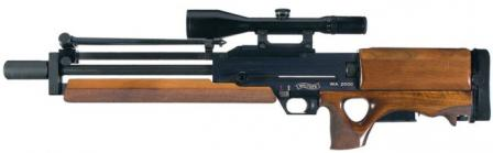 Walther WA 2000 sniper rifle, left side, with bipod folded over the barrel.