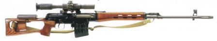 Original SVD rifle with wooden furniture, right side.