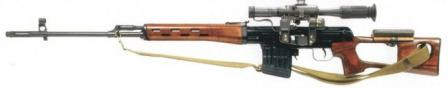 Original SVD rifle withwooden furniture, left side.