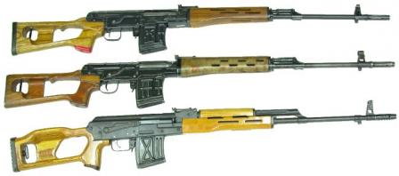 Foreign SVD clones andlook-alikes: top to bottom Al Kadesih rifle (Iraq), Type 85 rifle(China) and FPK rifle (Romania). Note that only two former rifles aretrue clones of SVD; the latter one, FPK in fact is a modified Kalashnikov AK rifle restyled to look like SVD and chambered for 7,62x54R.