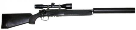 Steyr-Mannlicher SSG 69 sniper rifle, short police version (SSG P IV) with quick-detachable silencer installed.