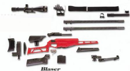 Blaser R93 Tactical disasembled with acessories.