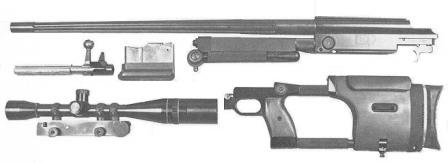 Model 300 rifle stripped into major components.