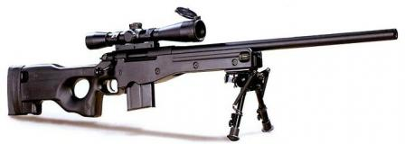 AI AE series rifle with Harrisbipod and optional 8 rounds magazine.