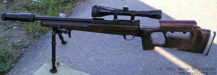 SV-99 short-range sniper rifle, left side; note the silencer mounted on the muzzle.