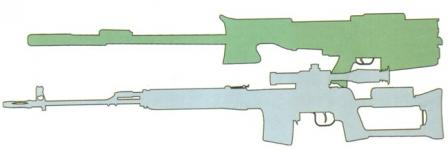 12.7mm OSV-96 rifle in folded position compared to 7.62mm SVD rifle.
