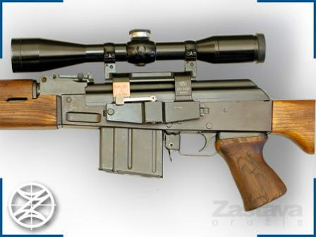 Zastava M76 sniper rifle with standard telescope sight.