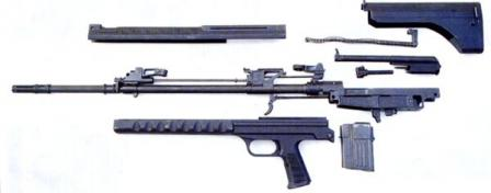 QBU-88 sniper rifle, disassembled.