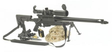 Brugger & Thomet (B+T) APR 308 sniper rifle in standard configuration, with B+T scope and mirage band above the barrel.