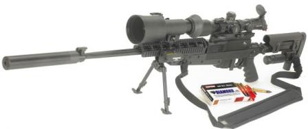 Brugger &Thomet (B+T) APR 308 sniper rifle with optional front Picatinny railblock, image-intensifying add-on night sight and detachable silencer.