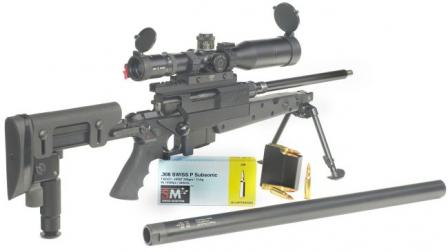 Brugger &Thomet (B+T) APR 308 sniper rifle in integrally silenced configuration,with silencer removed for maintenance or transportation.