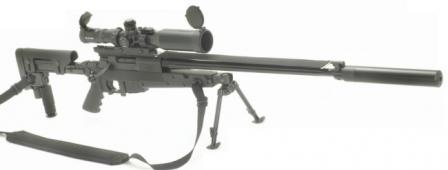 Brugger & Thomet (B+T) APR 338 sniper rifle in standardconfiguration, with B+T scope, mirage band above the barrel and quick-detachable B+T silencer.