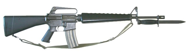 M16A1 rifle with 30-round magazine and bayonet, right side