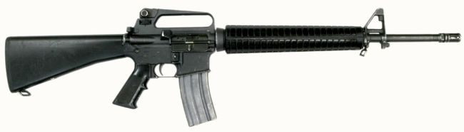 M16A2 rifle with 30-round magazine, right side