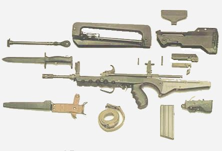 FAMAS rifle stripped into major components