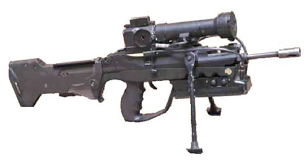The FAMAS assault rifles are built using the bullpup layout, with the magazine housing behind the pistol grip and trigger. The gun is built around the compact receiver, which is enclosed in the plastic housing.