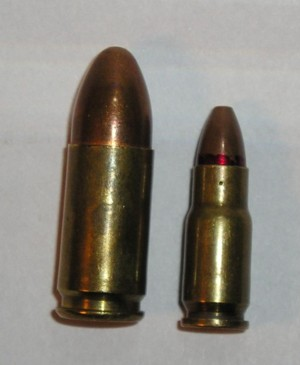 5.45mm 7N7 cartridge (right) compared to 9x19 Parabellum cartridge (left)