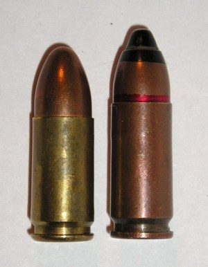 9mm SP-10 AP cartridge (right) compared to 9x19 Parabellum cartridge (left)
