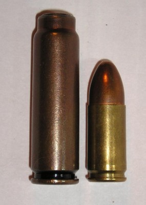 7.62mm SP-4 silent cartridge (left) compared to 9x19 Parabellum cartridge (right)