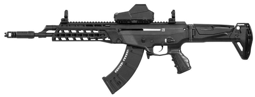 AK-Alfa assault rifle, version with black furniture, KeyMod forend and short barrel