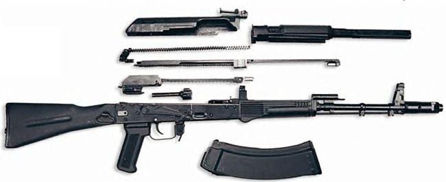 Необходимо за короткий промежуток времени разобрать и собрать автомат Калашникова (АК-47).  Играть.