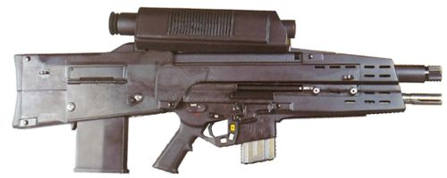 The XM-29 SABR OICW (Objective Individual Combat Weapon) in its present configuration (2002).