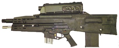 The left side view on the XM-29 OICW, showing its controls on the sighting unit.
