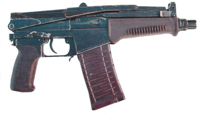 SR-3 Vikhr compact assault rifle, shoulder stock folded.