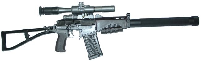 SR-3M Vikhr compact assault rifle, current issue model, with 'old pattern' 20-round magazine, quick-mounted silencer and telescope sight.