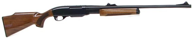 Remington model 7600 pump-action rifle with wood furniture.