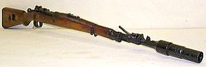 German Mauser K98k carbine (WW2 period) with attached cup-shaped grenade launcher.