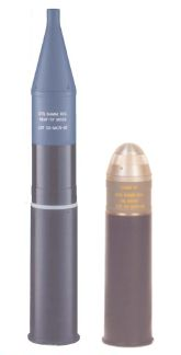 Just two types of many dozens of different 84mm rounds - the rocket-boosted HEATround at left, and the HE-FRAG round at right, both made in Belgium by Mecar.