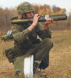 Firing the M72 LAW weapon.