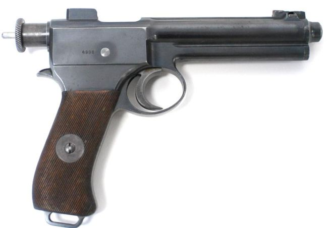 Roth M.7 (model 1907) self-loading pistol, right side. The thin tail of the striker, which extends out of the rear of the bolt, means that the gun is half-cocked and is ready to be fired.
