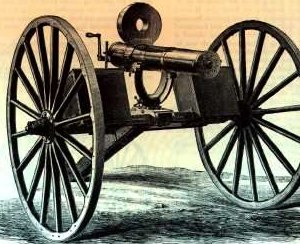the original Gatling gun of 1873, manually operated by rotating crank (visible on the right side of the gun breech)