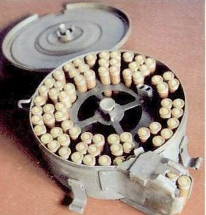 Type 95 drum magazine opened for reloading.