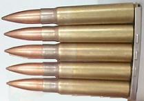 7.92x57mm (also known as 7.9mm or 8mm Mauser) ammo on stripper clip.
