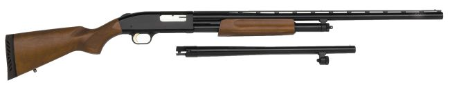 Mossberg 500A shotgun with shot and slug barrel combo (hunting version).