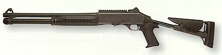 Benelli M4, withextended buttstock.