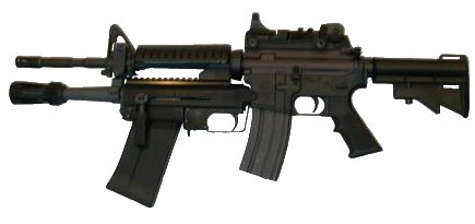 the latest (current) version of the XM-26 LSS mounted under the M4A1 carbine.