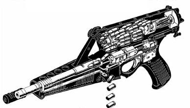 Сut-out drawing of the Calico M950 pistol, showing its general layout and feedsystem.