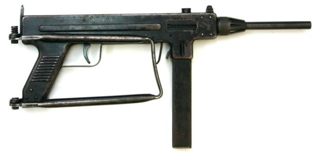 Madsen model 1950 submachine gun, butt folded.
