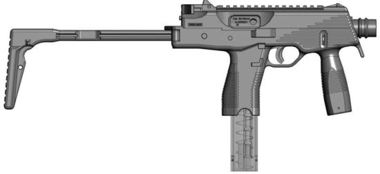The B+T MP 9 submachine gun (drawing), with shoulder stock opened.