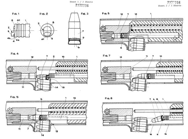 схема из патента 1981 года, иллюстрирующая работу автоматики пистолета-пулемета Benelli CB-M2.