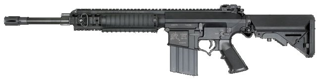 Knights SR-25 carbine, civilian version with 16 barrel and telescopic buttstock.