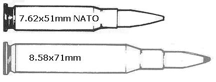 Comparision drawing: 7.62x51mm NATO (.308 Win) and 8.58x71mm (.416-.338).