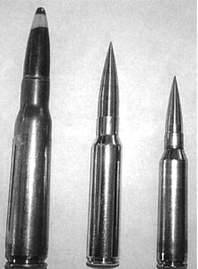 .408 CheyTac cartridge (middle) compared to .50BMG (left) and .338Lapua (right).
