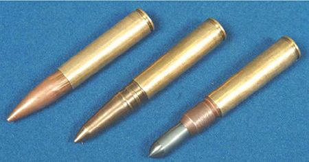 "12.7x54mm special subsonic ammunition for VKS / VSSK ""Vychlop"" system, L to R: STs-130PT (sniper), STs-130PT2 (sniper with solid bronze bullet), STs-130VPS (high penetration / armor piercing)."